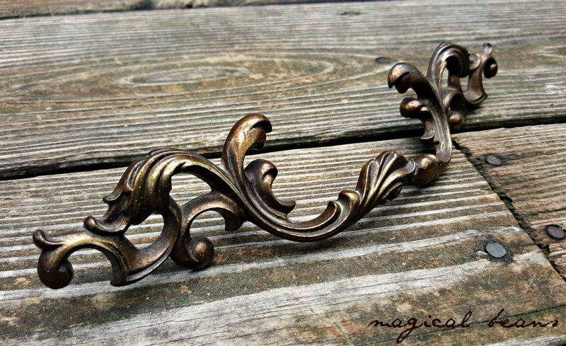 French Vintage Dark Brass Provincial Drawer Pull  - product images  of