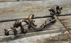 French Vintage Dark Brass Provincial Drawer Pull  - product images 3 of 5