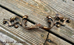 French Vintage Dark Brass Provincial Drawer Pull  - product images 2 of 5