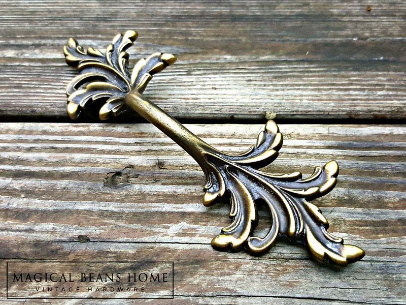 Vintage French Country Leafy Drawer Pulls in Antiqued Brass  - product images  of