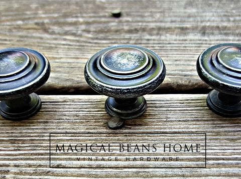 Weathered,Black,&,Silver,Rustic,Industrial,Farmhouse,Knobs,Black Silver dresser knobs, weathered rustic drawer pulls, drawer pull handles, farmhouse chic knobs, multi ring knobs, black knobs,weathered silver  knobs, distressed black knobs, distressed silver knobs, dresser hardware,