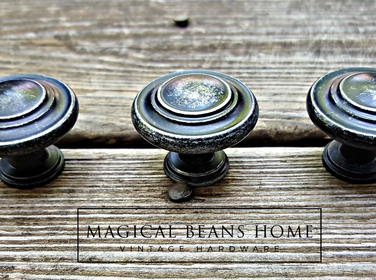Weathered Black Amp Silver Rustic Industrial Farmhouse Knobs