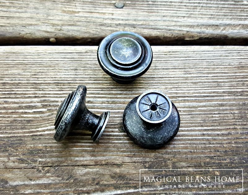 Weathered Black & Silver Rustic Industrial Farmhouse Knobs  - product images  of
