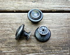Weathered Black & Silver Rustic Industrial Farmhouse Knobs  - product images 4 of 4