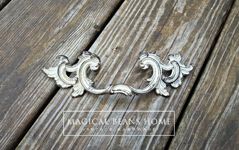Vintage,KBC,French,Provincial,Winged,Pull,in,Solid,Brass,w/Ivory,Overlay,Vintage drawer pull, kbc dresser pulls, keeler  brass co period hardware, winged dresser drawer pulls, brass drawer pulls, ivory dresser hardware, french provincial drawer pulls, shabby chic pulls, cottage chic ivory pulls
