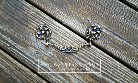 Antique,Keeler,Brass,Co,Victorian,Solid,Drop,Bail,Pull,KBC drawer pull, Keeler Brass Co Period Hardware, Brass Dresser Hardware, Antique Furniture Pulls, Drop Bail Pulls, Baroque Drawer Pulls, Gold & Black Dresser Pulls, Victorian Drawer pull handles
