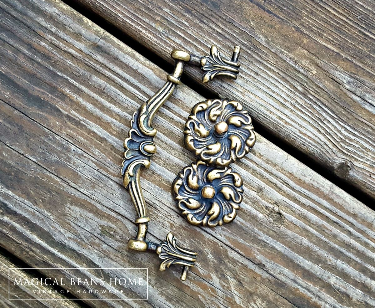 Antique Keeler Brass Co Victorian Solid Brass Drop Bail Pull  - product images  of