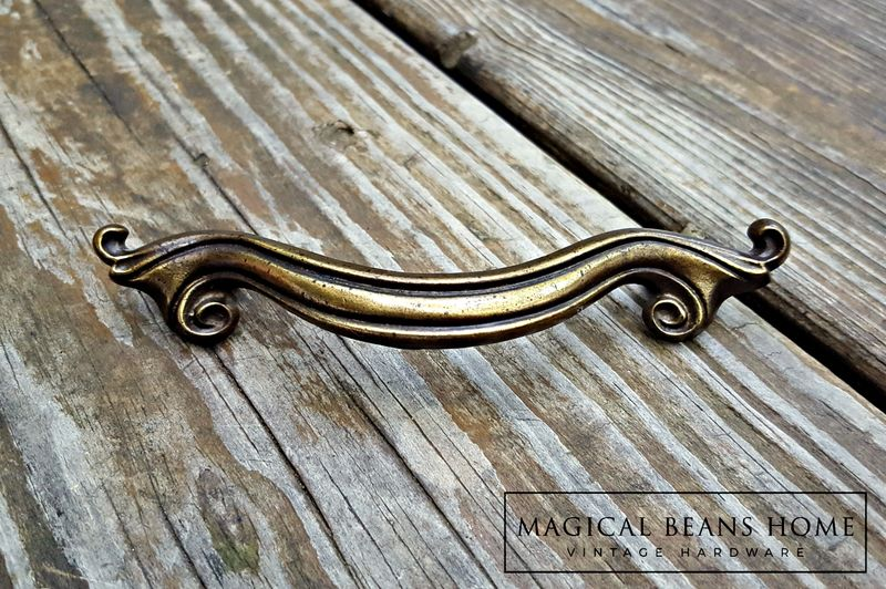 Vintage Keeler Brass Co Ribbon Pull in Antiqued Brass  - product images  of