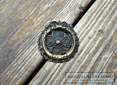 Vintage,Keeler,Brass,Co,Celtic,Knots,Antiqued,Round,Pull,celtic drawer pull, kbc dresser pulls, keeler brass co period hardware, vintage drawer pull handle, brass dresser hardware, round hepplewhite pulls, celtic knot hardware, decorative drawer pulls, antiqued brass dresser pulls