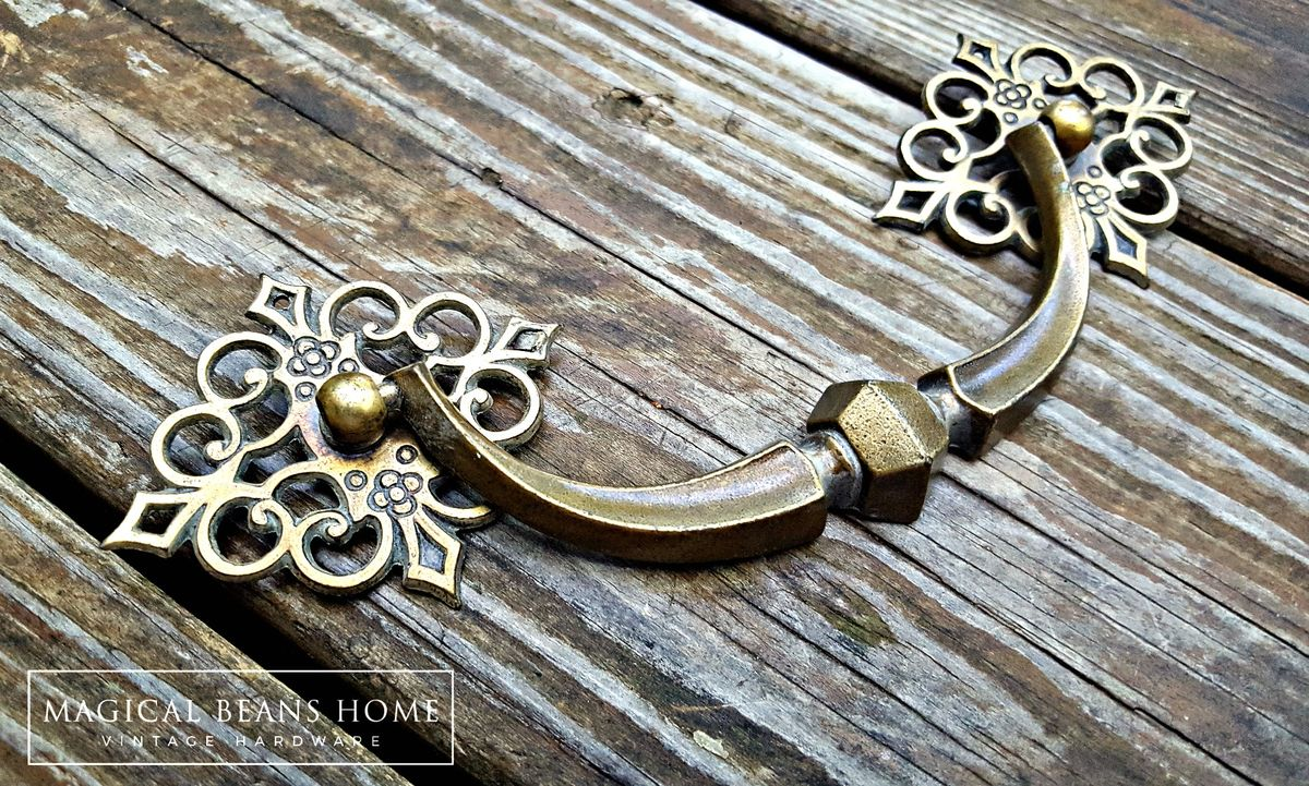 Vintage KBC Large Antiqued Brass Drop Bail Pull  - product images  of