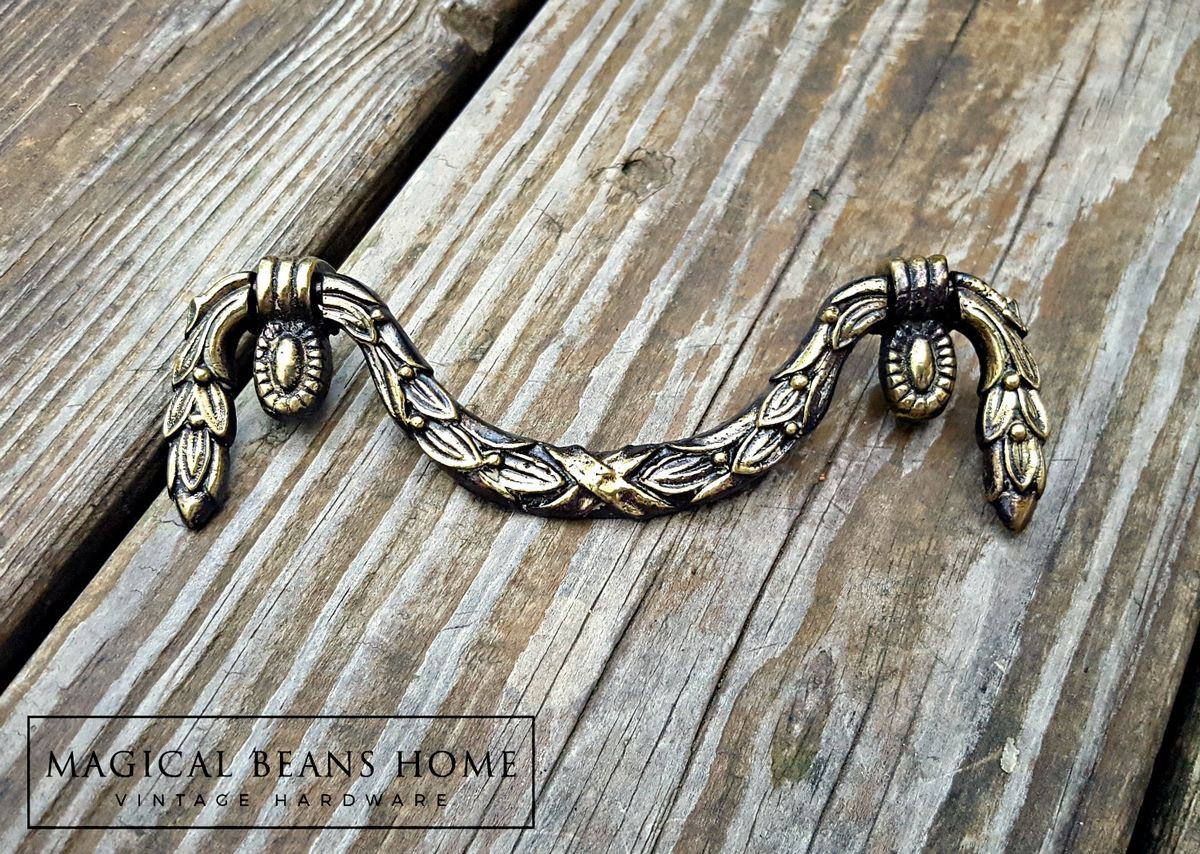 Antique Keeler Brass Co Garland Style Pull in Solid Brass - product images  of