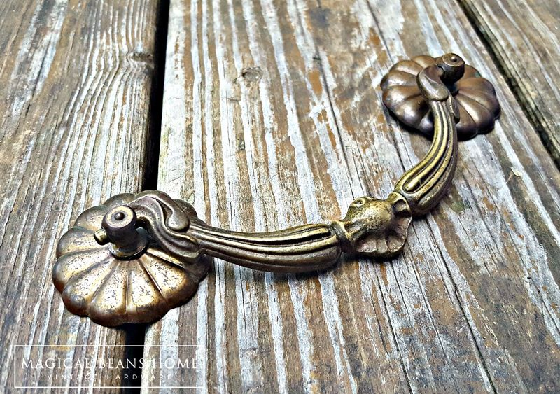 Antique Keeler Brass Co Large Victorian Brass Drop Bail Pull  - product image