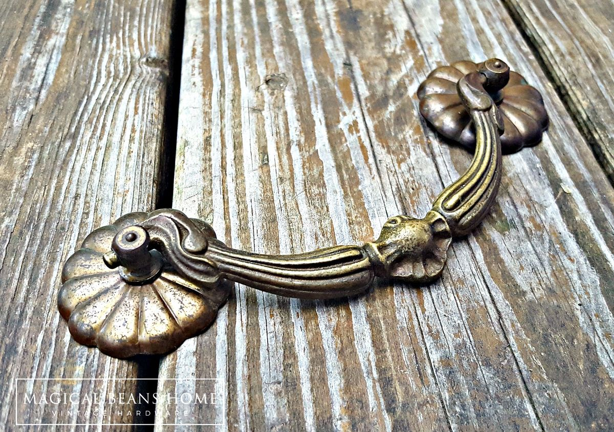 Antique Keeler Brass Co Large Victorian Brass Drop Bail Pull  - product images  of