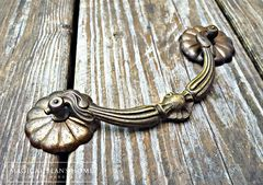Antique Keeler Brass Co Large Victorian Brass Drop Bail Pull  - product images 2 of 5