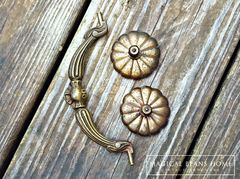 Antique Keeler Brass Co Large Victorian Brass Drop Bail Pull  - product images 4 of 5