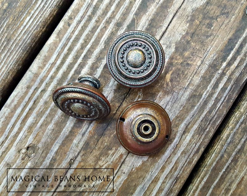 Vintage Rustic Farmhouse Antiqued Brass Furniture Knob - product image
