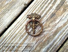 Keeler Brass Co Vintage Victorian Ribbon & Roses Ring Pull in Antiqued Brass  - product images 3 of 5