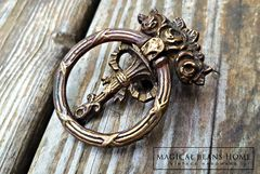 Keeler Brass Co Vintage Victorian Ribbon & Roses Ring Pull in Antiqued Brass  - product images 2 of 5