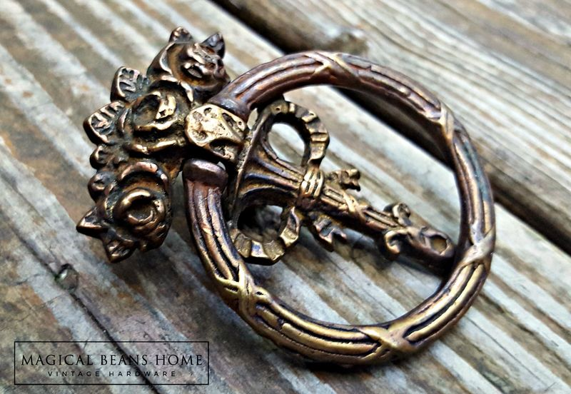 Keeler Brass Co Vintage Victorian Ribbon & Roses Ring Pull in Antiqued Brass  - product images  of