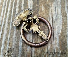 Keeler Brass Co Vintage Victorian Ribbon & Roses Ring Pull in Antiqued Brass  - product images 5 of 5