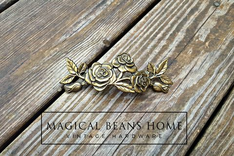 Vintage,KBC,Romantic,Roses,Shabby,Chic,Drawer,Handles,in,Antiqued,Brass,kbc dresser drawer pulls, keeler brass co period hardware, antiqued brass drawer pulls, vintage drawer pulls, shabby chic drawer pulls, rose adorned drawer handles, dresser hardware, dresser drawer pulls,
