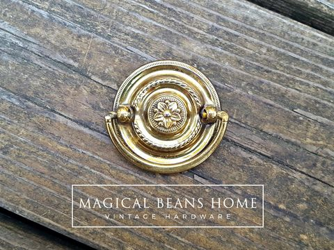 Vintage,Small,Round,Gold,Hepplewhite,Drop,Bail,Pull,in,Polished,Brass,small drawer pulls, round drawer pulls, vintage drawer pulls, drop bail pulls, Hepplewhite pulls, gold drawer pulls, polished brass drawer pulls, dresser hardware, cabinet pulls, period hardware, solid brass dresser pulls