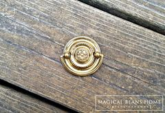 Vintage Small Round Gold Hepplewhite Drop Bail Pull in Polished Brass - product images 2 of 4