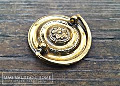 Vintage Small Round Gold Hepplewhite Drop Bail Pull in Polished Brass - product images 3 of 4