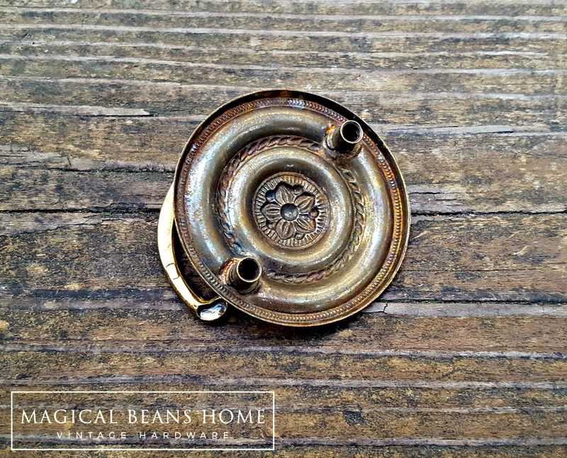Vintage Small Round Gold Hepplewhite Drop Bail Pull in Polished Brass - product images  of