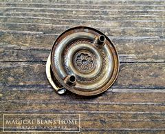 Vintage Small Round Gold Hepplewhite Drop Bail Pull in Polished Brass - product images 4 of 4