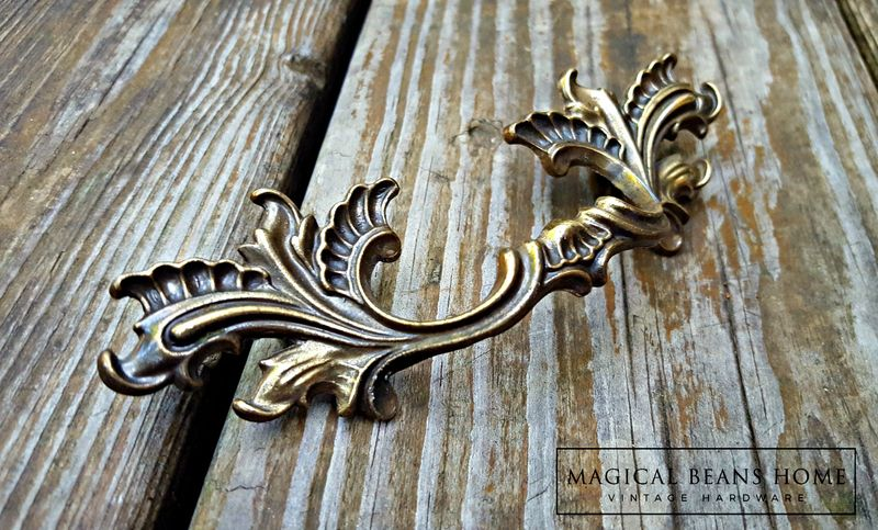 Vintage French Provincial Drawer Pulls in Dark Brass  - product images  of