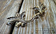 Vintage French Provincial Drawer Pulls in Dark Brass  - product images 8 of 10