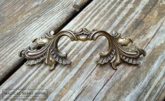 Vintage French Provincial Drawer Pulls in Dark Brass  - product images 9 of 10