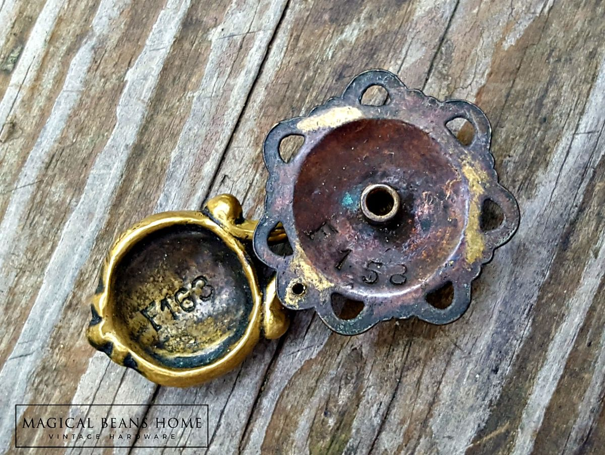 Vintage Keeler Brass Co Antiqued Brass Teardrop Pull  - product images  of