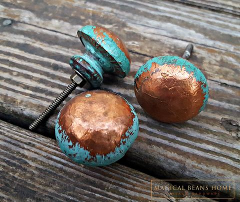 Distressed,Copper,&,Turquoise,Wood,Knob,Copper Drawer knobs, Teal Blue knob,Copper & teal knobs, dresser hardware, teal drawer knobs, decorative knobs, wood knobs, cabinet knobs, trendy furniture knobs