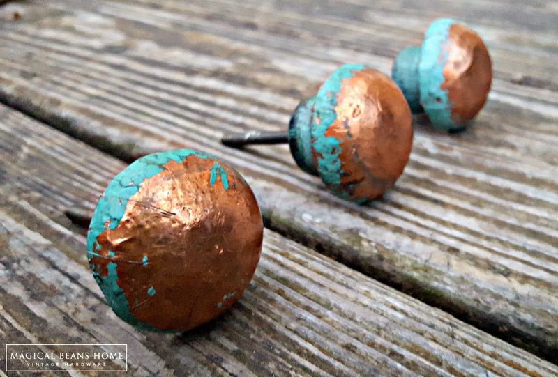 Distressed Copper & Turquoise Wood Drawer Knobs  - product images  of