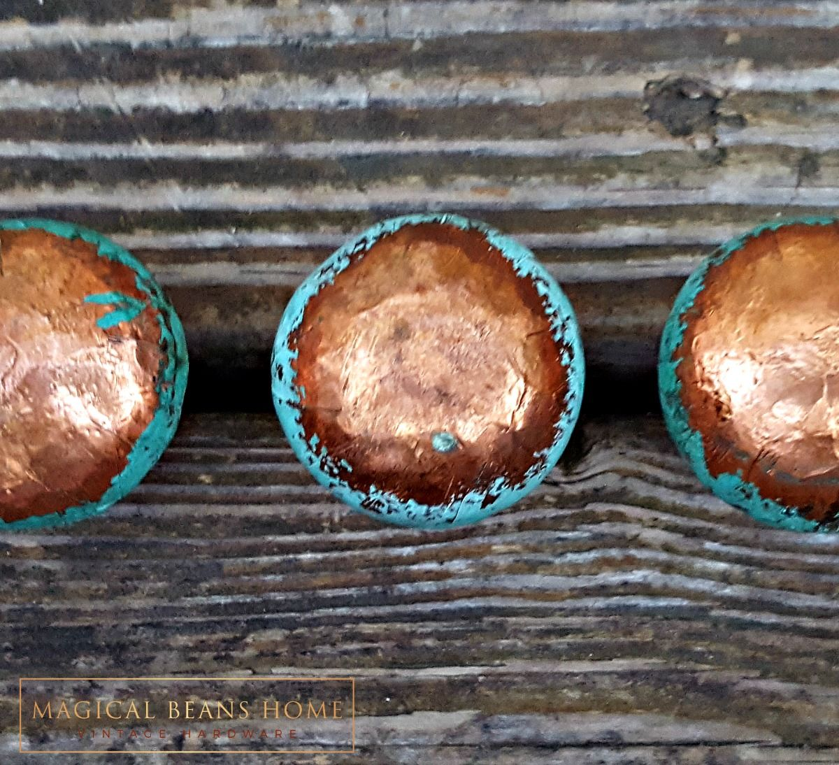 Distressed Copper & Turquoise Wood Knob  - product images  of
