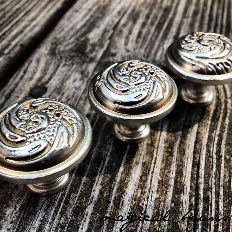 Vintage Inspired Ornate Silver Knob  - product images  of