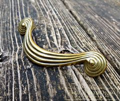 Vintage Mid Century Gold Groovy Spiral Swirl Drawer Handles in Solid Brass - product images 2 of 4