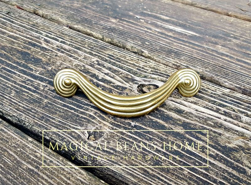 Vintage Mid Century Gold Groovy Spiral Swirl Drawer Handles in Solid Brass - product images  of