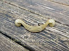 Vintage Mid Century Gold Groovy Spiral Swirl Drawer Handles in Solid Brass - product images 4 of 4