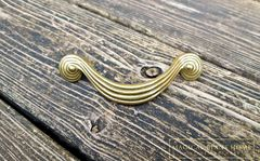 Vintage,Mid,Century,Gold,Groovy,Spiral,Swirl,Drawer,Handles,in,Solid,Brass,gold drawer pull, spiral dresser handles, mid century drawer pulls, solid brass dresser hardware, grooved dresser drawer handles, art deco furniture pulls