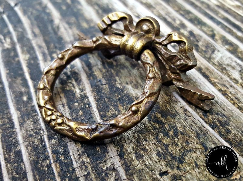 Vintage Keeler Brass Co Ribbon & Bow Wreath Ring Pull in Dark Brass - product image