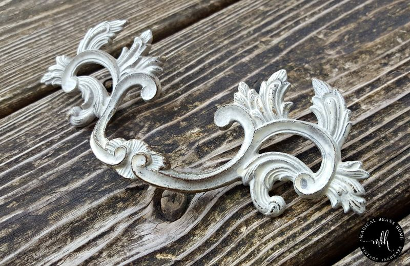 Vintage KBC French Provincial Pulls in Various Finishes, Solid Brass, Inward-Facing Leaf  - product images  of