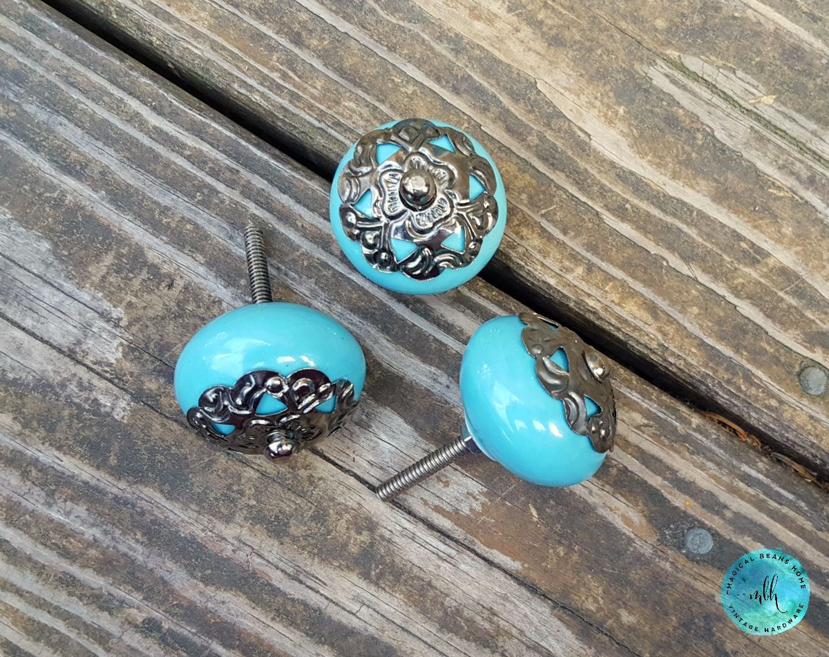 Shabby Cottage Chic Robin Egg Blue Ceramic Knob w/Gunmetal Topper - product images  of
