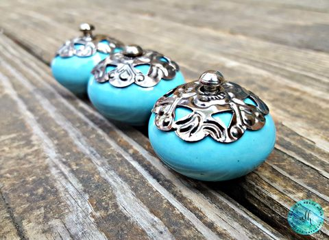 Blue,Ceramic,Knob,w/Gunmetal,Filigree,Adornment,blue dresser knobs, robin egg blue knob, beach decor drawer knobs, gunmetal drawer knobs, dresser drawer knobs, shabby chic dresser hardware, decorative knobs, ceramic knobs, glass knobs