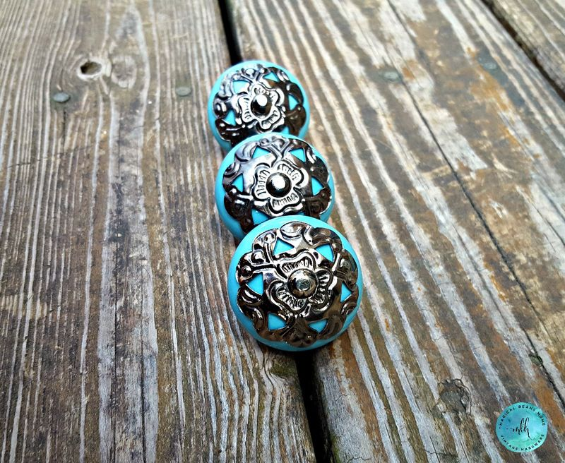 Blue Ceramic Knob w/Gunmetal Filigree Adornment - product images  of