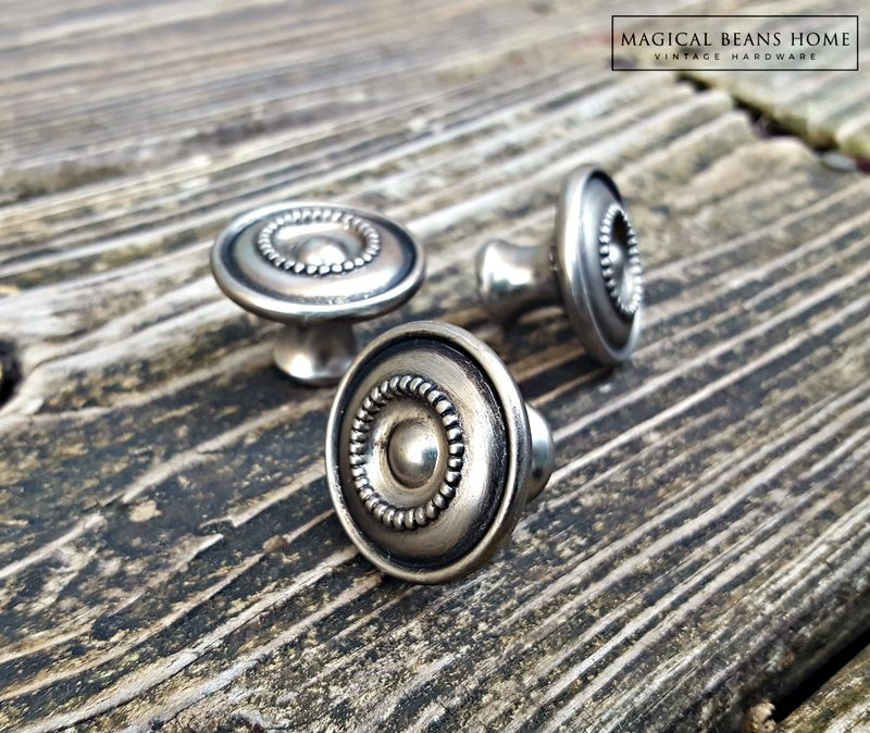 Antiqued Silver Multi Ring Beaded Knobs in Brushed Nickel  - product images  of