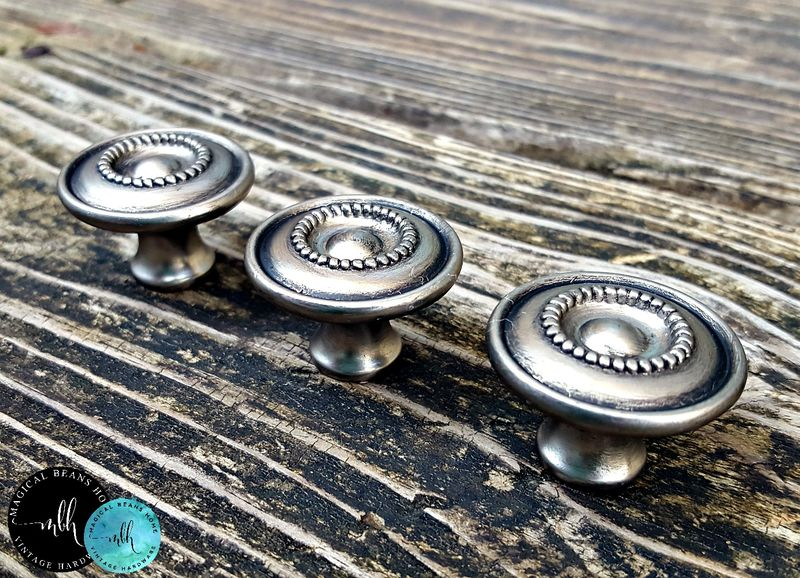 Antiqued Silver Multi Ring Beaded Knobs in Brushed Nickel  - product image