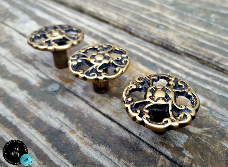 Vintage Antiqued Brass Filigree Drawer Knobs - product images  of